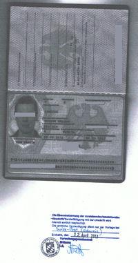 beglaubigte Kopie eines Reisepasses