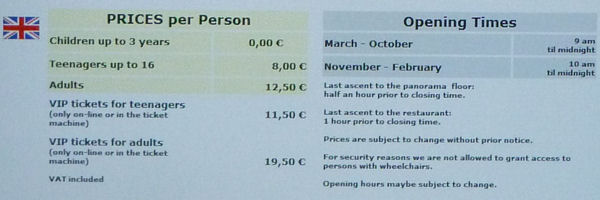 Entrance fees of the Berlin TV Tower