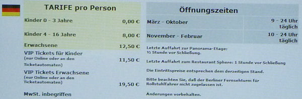 Eintrittspreise vom Berliner Fernsehturm