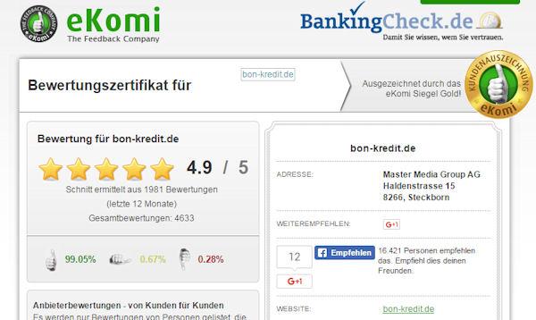 Bon-Kredit Bewertung bei eKomi