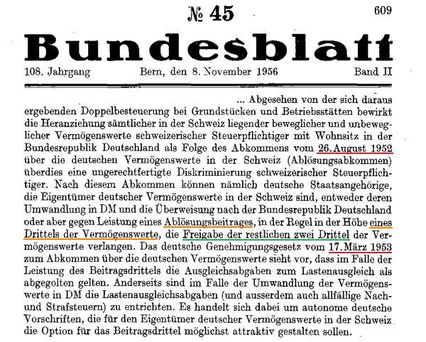 Schweizer Bundesblatt zur Enteignung