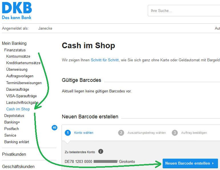 DKB Cash im Shop – Barcode erzeugen