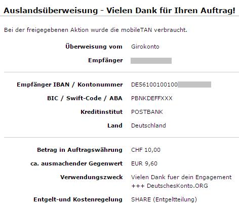 Comdirect Auslandsüberweisung SHARE in Franken
