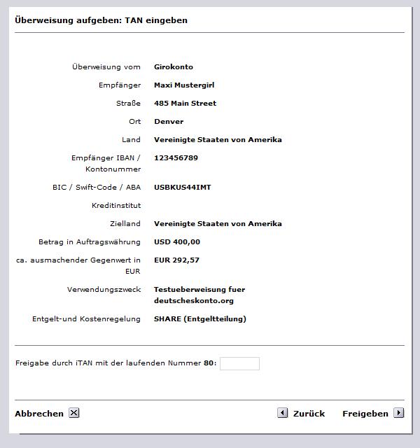 Comdirect Auslandsüberweisung bestätigen