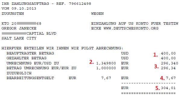 Auslandszahlung der Comdirect PDF