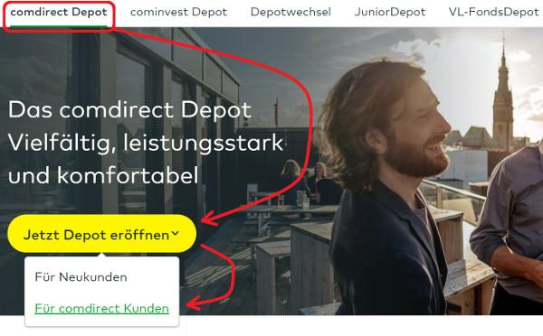 Comdirect Depot als Bestandskunde eröffnen