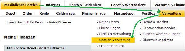 Comdirect Session-Verwaltung