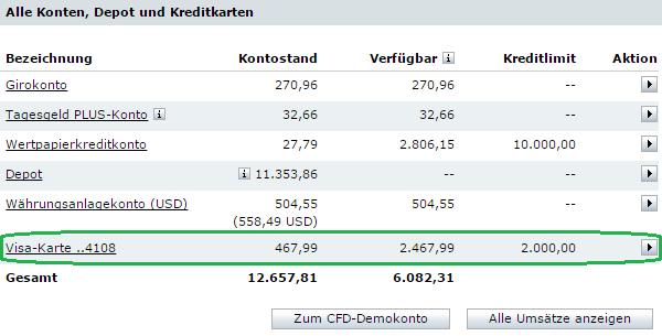 Kreditkarte im Online Banking der Comdirect Bank