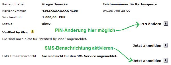 Bildschirmdruck vom Online-Banking der Comdirect bei der Kreditkarte, Einstellungen ändern