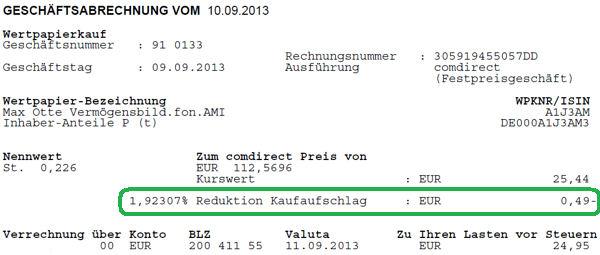 Kaufabrechnung vom Comdirect-Sparplan.
