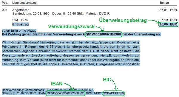Zahlungsrelevante Informationen in E-Mail oder PDF