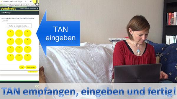TAN-Eingabe zum Abschluss beim VideoIdent der Comdirect