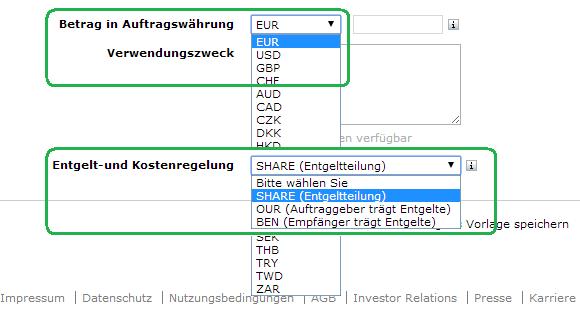 Bildschirmfoto: Comdirect Online-Banking Auslandsüberweisung