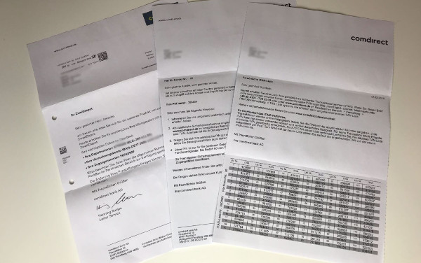 Briefe von der Comdirect zum Zweit-Depot