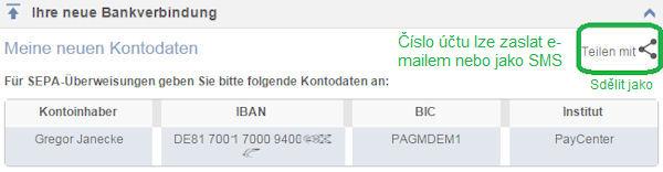 Nové číslo účtu pro on-line účet