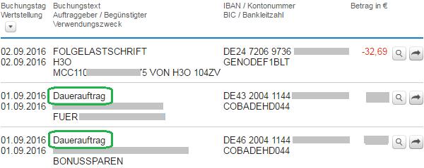 Zlecenia stałe na wyciągu z konta w DKB