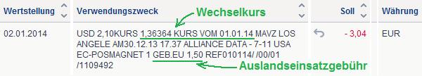 Kontoauszug der Deutschen Bank bei Auslandszahlung