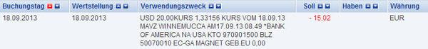 Kontoauszug Deutsche Bank Sparcard ATM USA