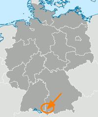 Deutschlandkarte, Allgäu markiert