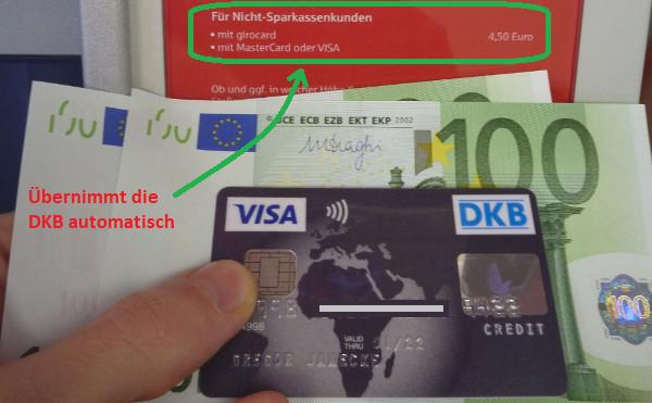 Mit DKB Visa Card kostenlos bei der Sparkasse abheben