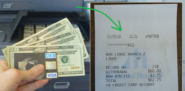 DKB Visa Card use abroad - here receipt of the cash withdrawal on Hawaii
