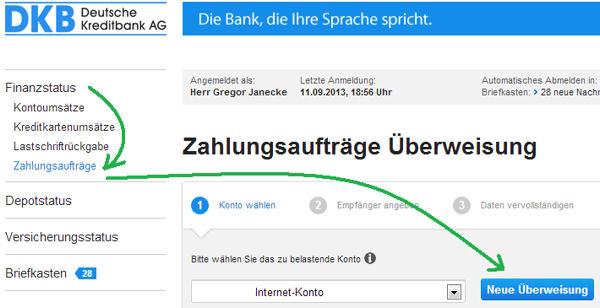 DKB Überweisung auf Kreditkartenkonto
