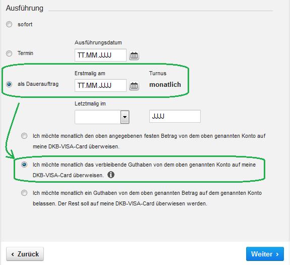 Bildschirmfoto: DKB Umbuchung vom Girokonto auf das Kreditkartenkonto (Visa-Sparen) programmieren.