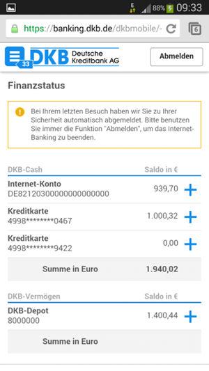 Bildschirmfoto Kontoübersicht DKB Banking App