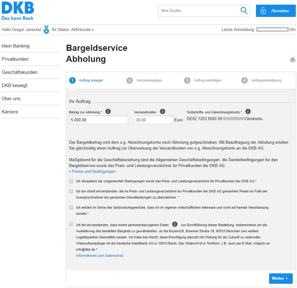 DKB Bargeldservice Abholung