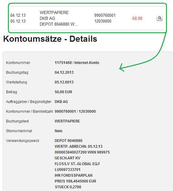 Abrechnung der ersten Ausführung des DKB Sparplans