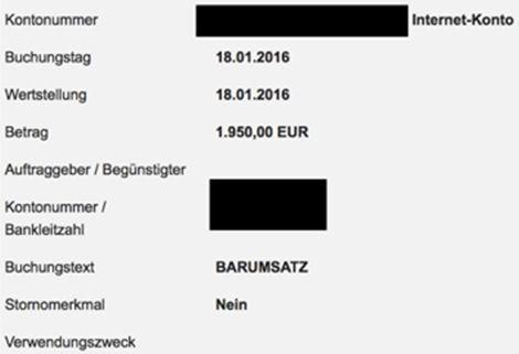Buchung der Einzahlung