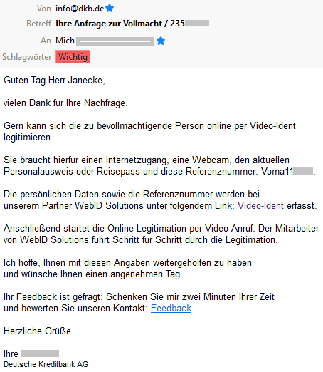 E-Mail der DKB zur Video-Legitimation