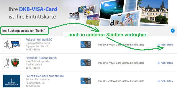 DKB Visa Card wird zur Eintrittskarte