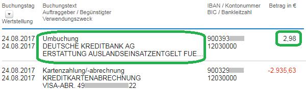 DKB: Erstattung des Auslandseinsatzentgelts