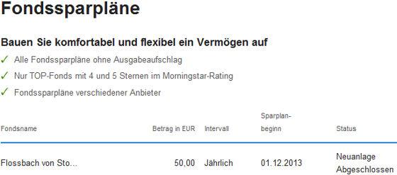 Übersicht Fondssparpläne der DKB