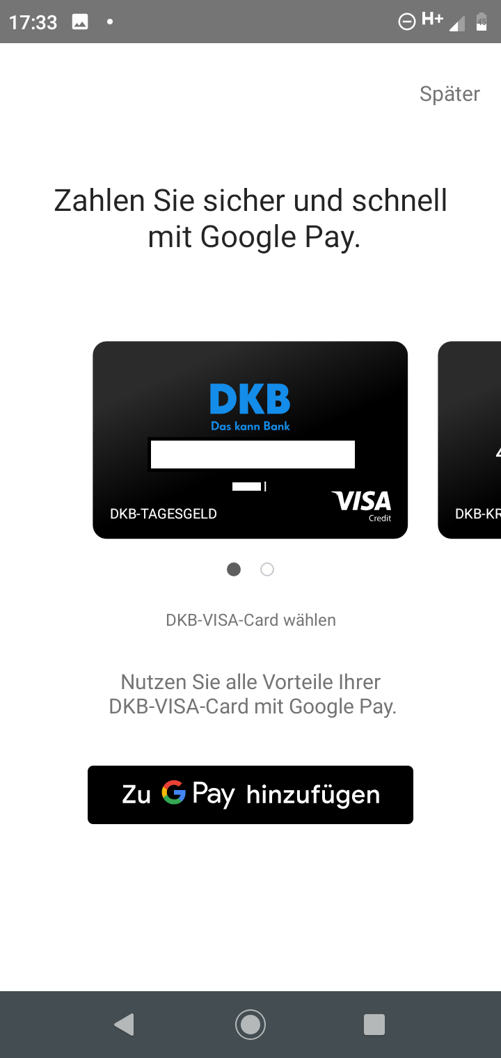 DKB Google Pay Karte auswählen
