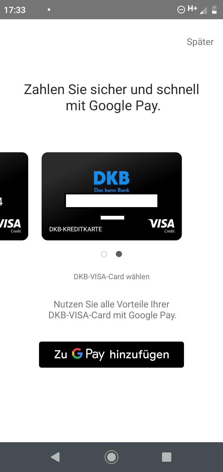 Google Pay - richtige Karte