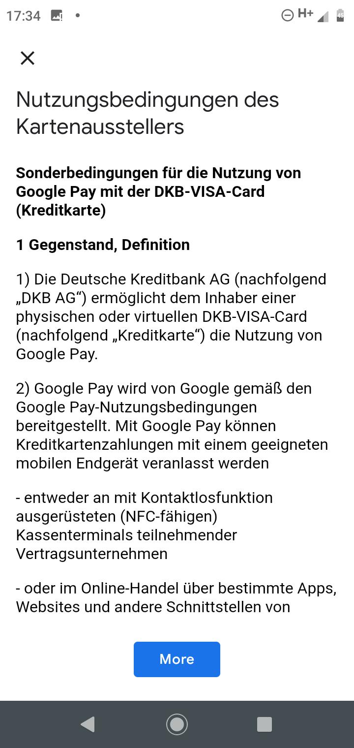DKB Nutzungsbedingungen Google Pay