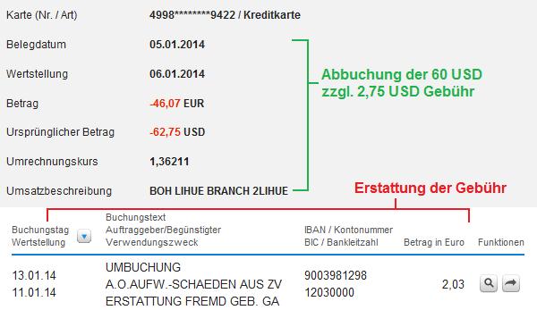 Dokumentation von der Erstattung der ATM-Gebühr beim Auslandseinsatz der DKB Visa Card