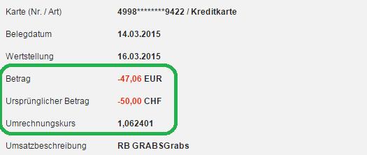 Kontoauszug mit Umrechungskurs DKB in der Schweiz