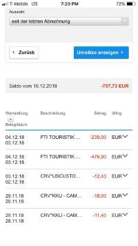 Kreditkartenumsätze DKB