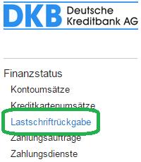DKB Lastschriftrückgabe