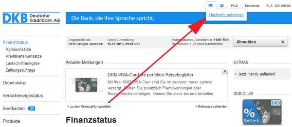 Online-Nachricht an die DKB schreiben