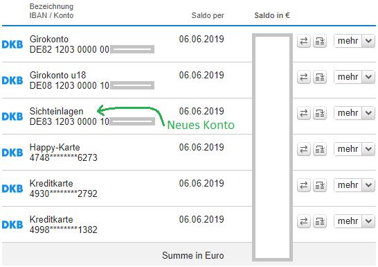 Neues DKB Konto