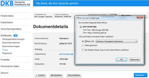 DKB Online-Tresor