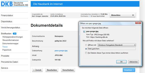 Download von Dateien aus dem Online-Tresor