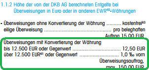 Auszug aus dem DKB-Preisverzeichnis