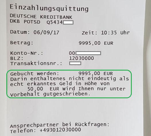 DKB: Quittung vom Einzahlungsautomat
