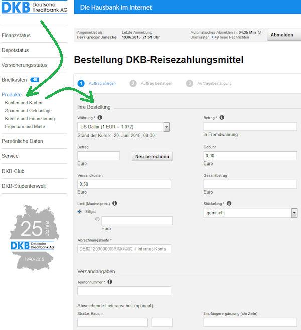 Formular: Reisegeld online bestellen
