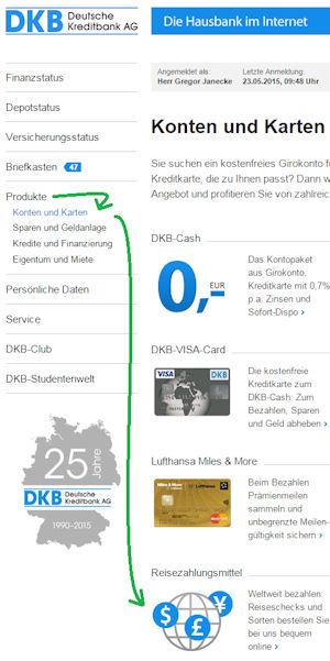Anleitung Bestellung von Reisezahlungsmittel bei der DKB